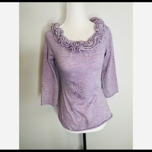 Anthropologie MOTH Wool Purple Sweater Ruffle